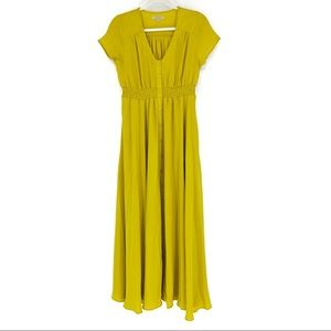 Polagram Mustard Yellow Button Front Maxi Dress